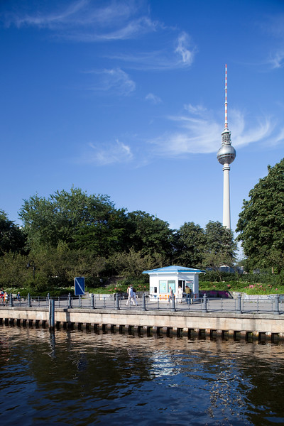 The TV Tower from the Spree river, Berlin, Germany
