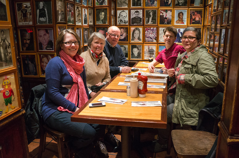Carnegie Deli, best table in the house.  The waiter said Howie Mandel and Nicholas Cage sit there when they come in.