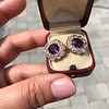 7.30ctw Victorian Amethyst and Old Mine Cut Diamond Cluster Earrings 17