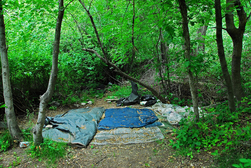 5/24/07 – A short walk up Provo Canyon will allow you to enjoy some real mountain beauty. But there is the ugly side also. I found this homeless camp tucked back in the trees. You can't see it from the main trail.