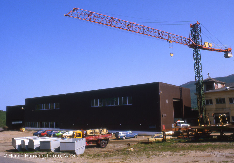 Industrihall i Bjørkåsen under bygging.