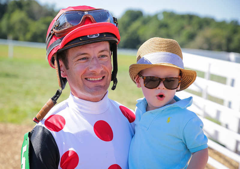 Julien Leparoux and his son at Kentucky Downs 9.07.19