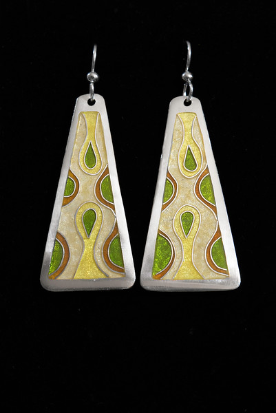 Fine Silver Champlevé and Cloisonné retro style trapezoid earrings.  1 7/8 inches long by 7/8 inch wide at bottom. The drop from the earwire is approximately 2 1/2 inches. Sterling silver ear wires and bead. 110.00