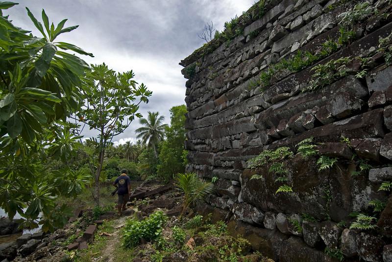 Nan Modal Wall for Scale - Pohnpei, Micronesia