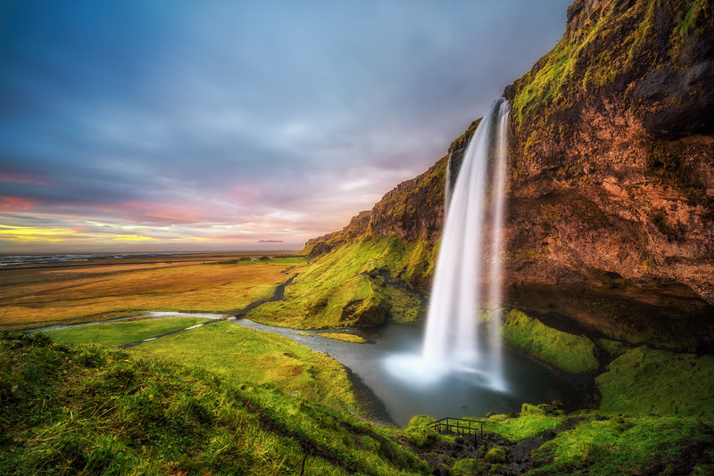 Seljalandsfoss Waterfall  in Iceland at sunset