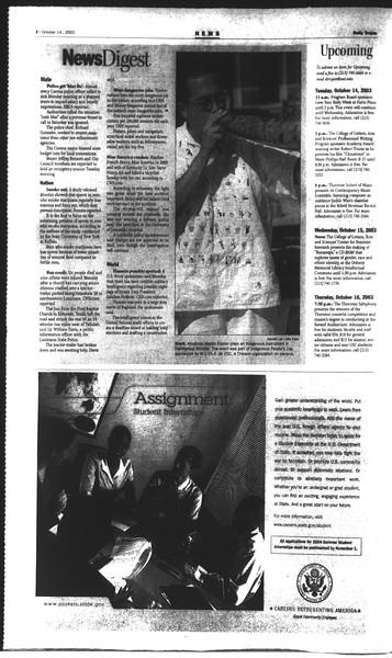 Daily Trojan, Vol. 150, No. 34, October 14, 2003