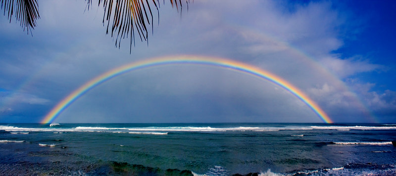 Early morning double rainbow off Sunset Point  North Shore