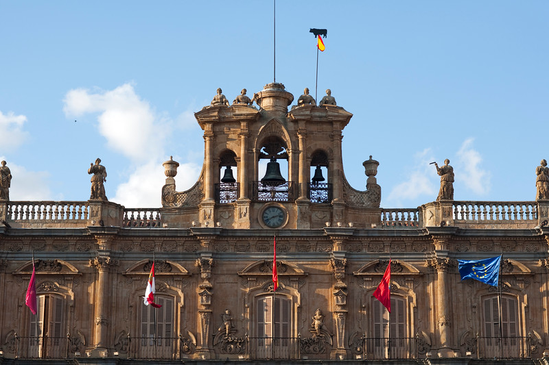 Detail from the Town Hall on Plaza Mayor (main square), town of Salamanca, autonomous community of Castilla and Leon, Spain
