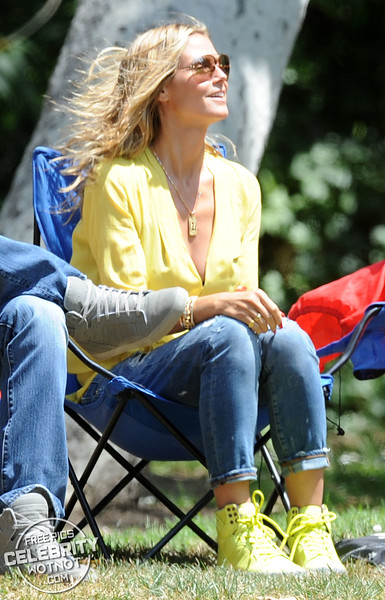 Heidi Klum Wears Revealing Yellow Silk Shirt in Los Angeles, CA