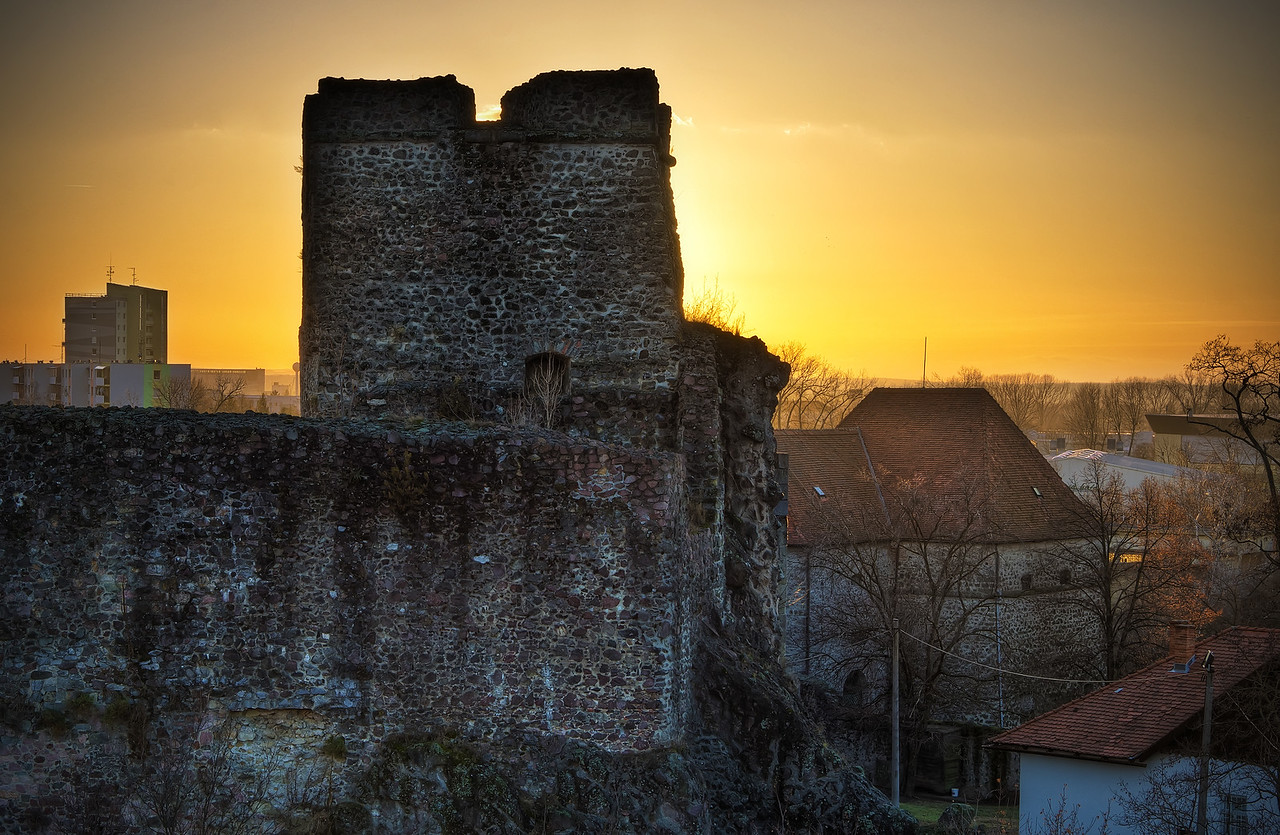 Sunset over Levice Castle