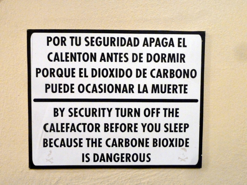 "Sign 3. ""BY SECURITY"", ""CALEFACTOR"", and ""CARBONE BIOXIDE""."