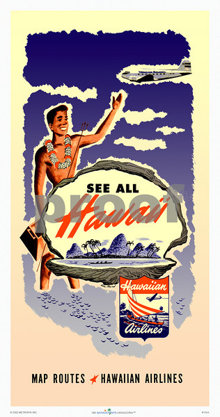 155: Hawaiian Airlines Map of Hawaii cover. Vintage Hawaiian Airlines island map cover. Ca 1948. It features a local lei greeter, a DC-3 airplane, and a fantasy tropical island. This cheerful airline poster incorporates a Hawaiian Airlines logo that is also available as a separate print. (PROOF watermark will not appear on your print)