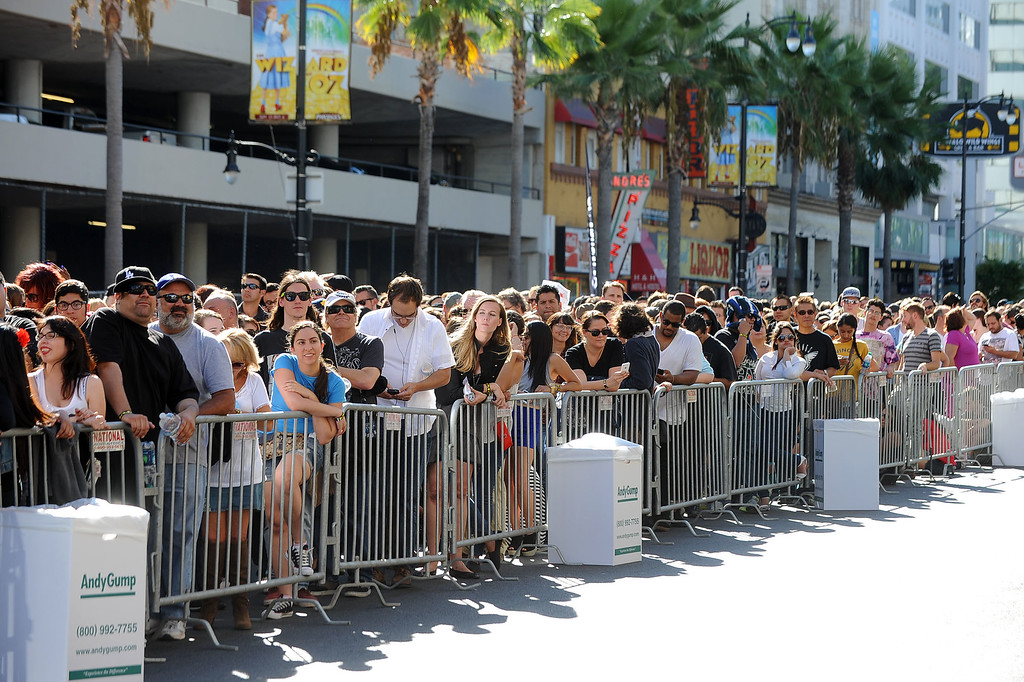 . Fans wait in line to see Paul McCartney perform on Hollywood Boulevard in Hollywood, CA Monday, September 23, 2013.  A portion of Hollywood Boulevard will be closed from Highland to Orange through Wednesday morning to make way for two concerts planned for �Jimmy Kimmel Live.� (Andy Holzman/Los Angeles Daily News)