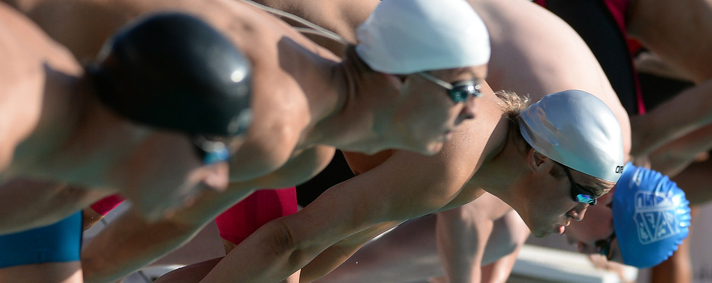 . The start of the 50 freestyle during the Division 4 CIF Southern Section Swimming Championships in the Riverside Aquatics Complex at Riverside City College in Riverside, Calif., on Friday, May 16, 2014.  (Keith Birmingham/Pasadena Star-News)
