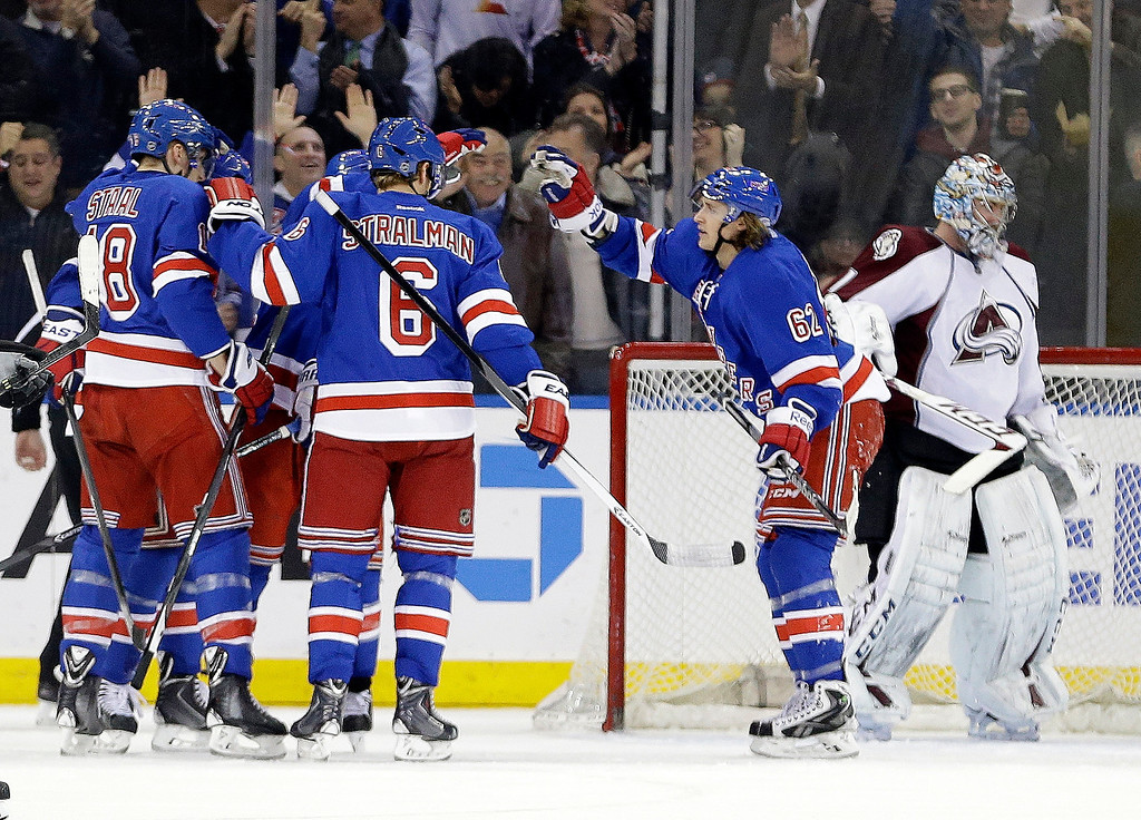 . Colorado Avalanche goalie Semyon Varlamov (1) reacts as the New York Rangers celebrate a goal by Ryan Callahan during the first period of an NHL hockey game Tuesday, Feb. 4, 2014, in New York. (AP Photo/Frank Franklin II)