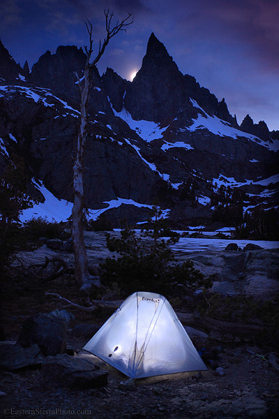 Backpacking in the Ansel Adams Wilderness under Clyde Minaret.