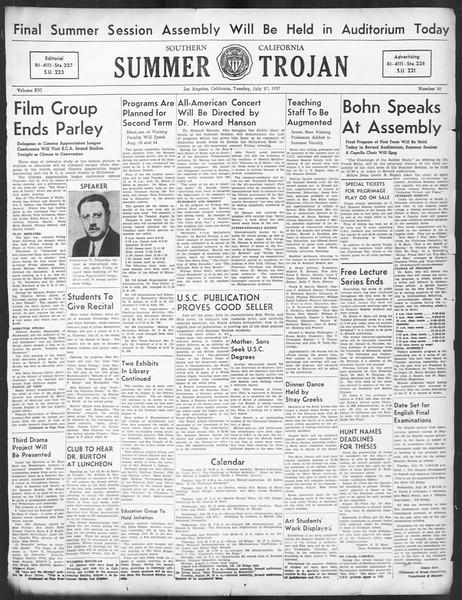 Summer Trojan, Vol. 16, No. 10, July 27, 1937
