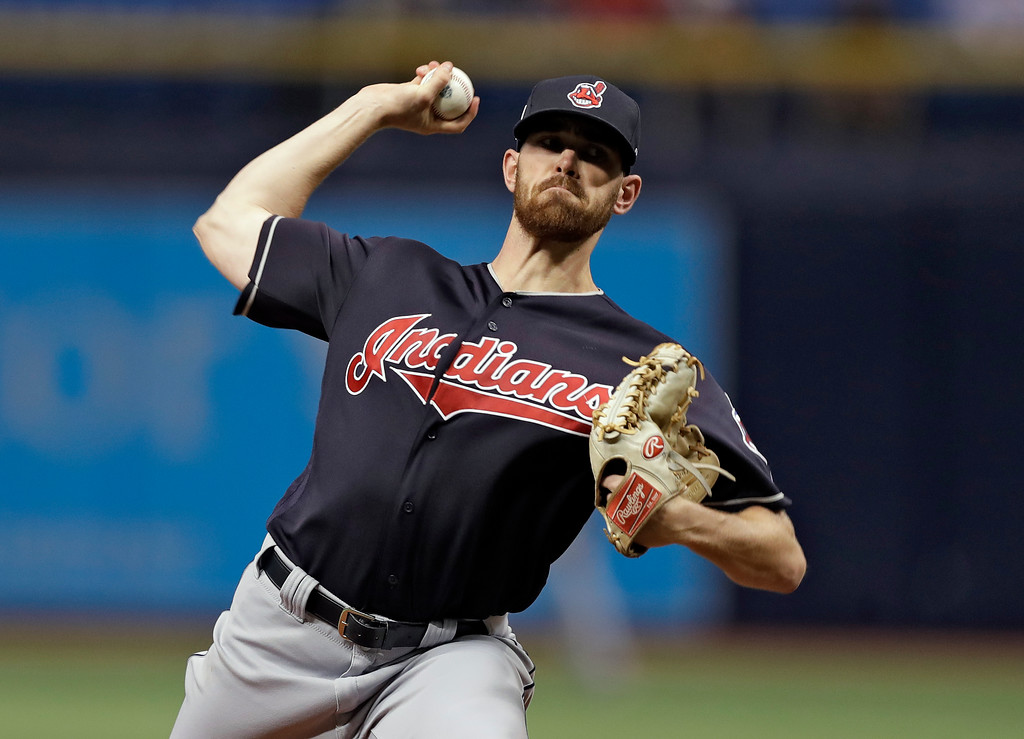 . Cleveland Indians pitcher Shane Bieber delivers to the Tampa Bay Rays during the first inning of a baseball game Tuesday, Sept. 11, 2018, in St. Petersburg, Fla. (AP Photo/Chris O\'Meara)