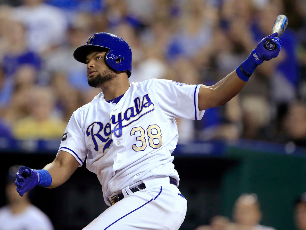 . Kansas City Royals\' Jorge Bonifacio watches his double off Cleveland Indians starting pitcher Josh Tomlin during the seventh inning of a baseball game at Kauffman Stadium in Kansas City, Mo., Friday, June 2, 2017. (AP Photo/Orlin Wagner)