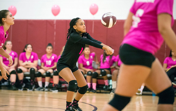 10/09/19 Wesley Bunnell | StaffrrInnovation girls volleyball defeated Wheeler 3-0 on Wednesday afternoon. Kenia Hernandez (15).