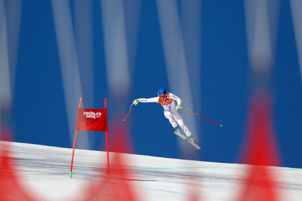 . Laurenne Ross of the USA competes during the Alpine Skiing Women\'s Super-G at the Sochi 2014 Winter Olympic Games at Rosa Khutor Alpine Centre on February 15, 2014 in Sochi, Russia. (Photo by Alexis Boichard/Agence Zoom/Getty Images)