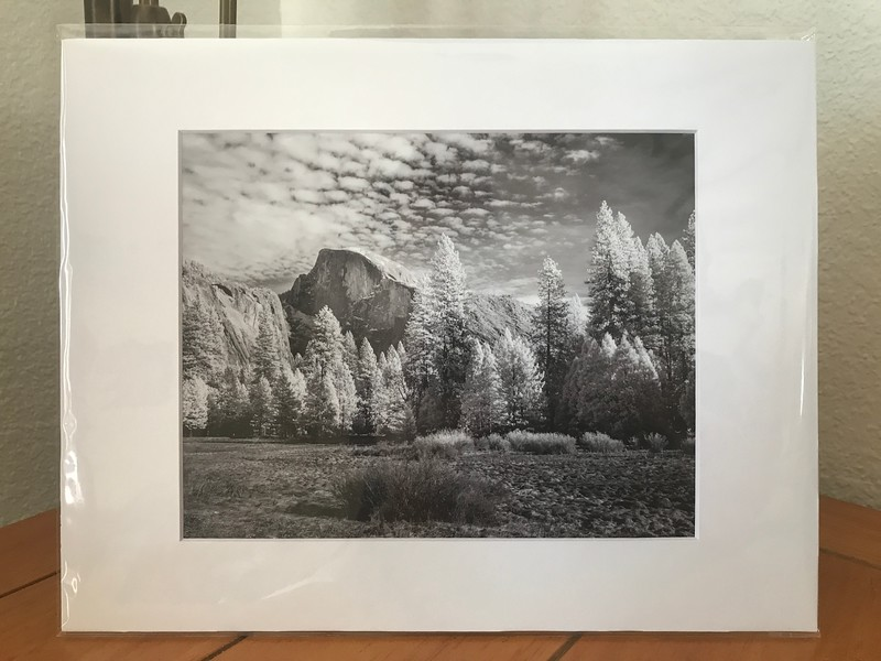 Print of Infrared Black and White photo of Half Dome