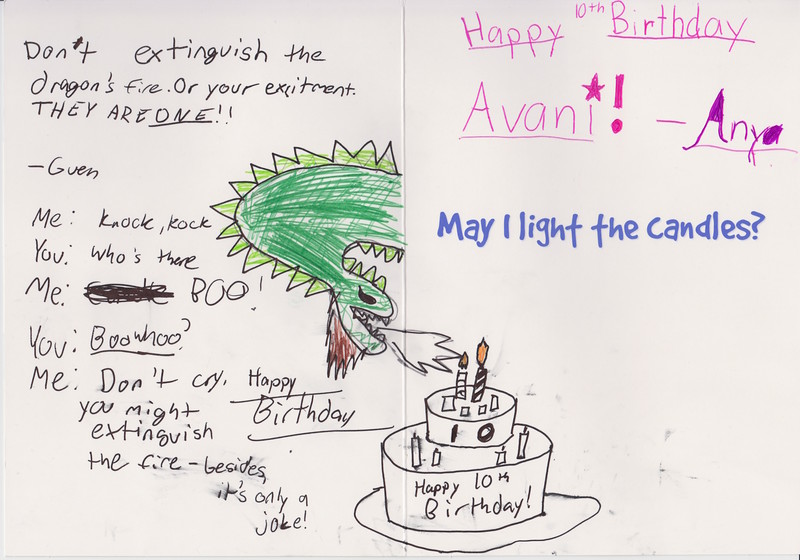 Birthday card by Anya and Guen.