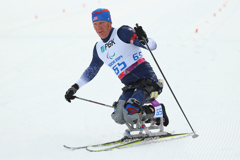 . Sean Halsted of the United States competes in the men\'s 7.5km sitting Biathlon during day one of Sochi 2014 Paralympic Winter Games at Laura Cross-country Ski & Biathlon Center on March 8, 2014 in Sochi, Russia.  (Photo by Mark Kolbe/Getty Images)