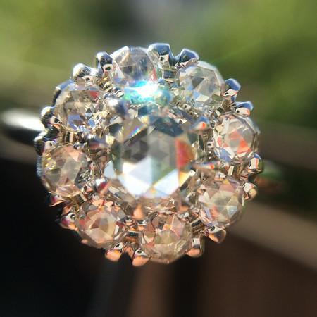 1.32tcw Rose Cut Diamond Halo Ring
