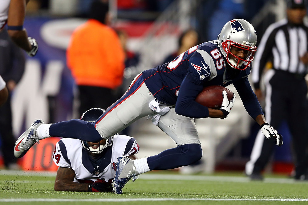 Description of . Brandon Lloyd #85 of the New England Patriots lunges for a touchdown in the third quarter against the Houston Texans during the 2013 AFC Divisional Playoffs game at Gillette Stadium on January 13, 2013 in Foxboro, Massachusetts.  (Photo by Elsa/Getty Images)