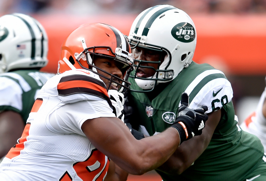 . Cleveland Browns defensive end Myles Garrett (95) pushes past New York Jets offensive tackle Kelvin Beachum (68) during the first half of an NFL football game, Sunday, Oct. 8, 2017, in Cleveland. (AP Photo/David Richard)