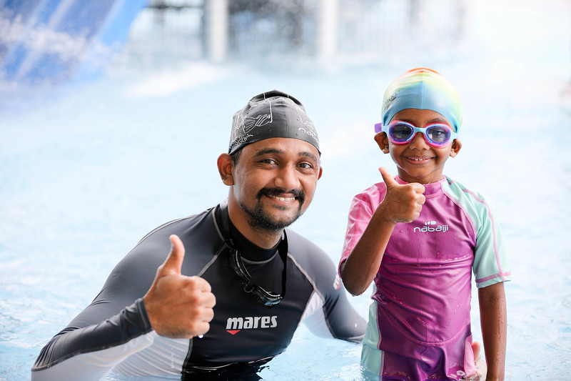 Family enojying playing in children pool during Active Health Lab Launch, taken on 4th Feb 2018 at Heartbeat@Bedok, Singapore. Photo by Sanketa Anand/SportSG