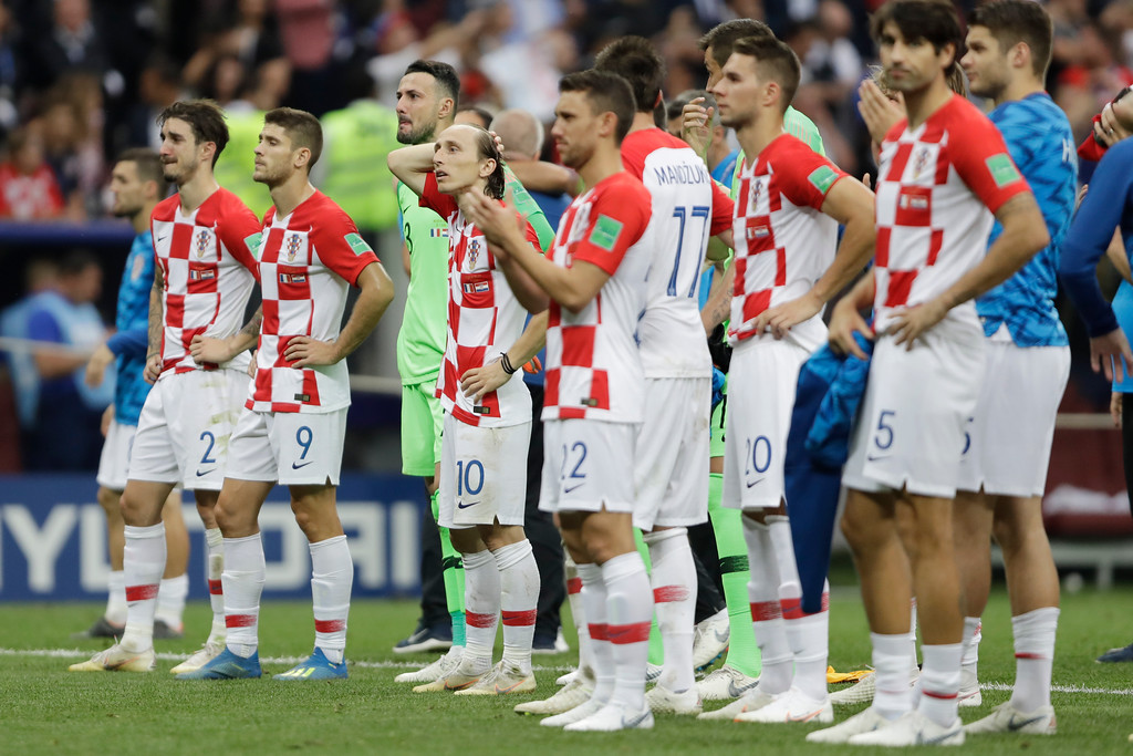 . Croatian player after the final match between France and Croatia at the 2018 soccer World Cup in the Luzhniki Stadium in Moscow, Russia, Sunday, July 15, 2018. (AP Photo/Natacha Pisarenko)