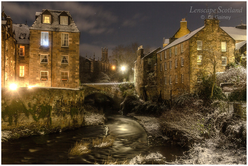 Dean Village in the snow, at night (3)