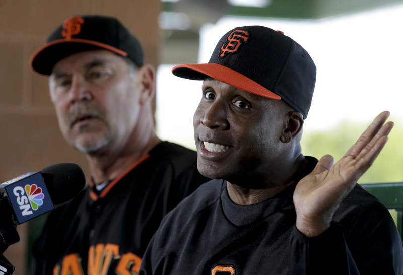 """. <p>7. BARRY BONDS <p>Juiced to be back in baseball, only not as juiced as he used to be. (unranked) <p><b><a href=\'http://blog.sfgate.com/giants/2014/03/10/barry-bonds-on-sf-giants-new-gig-hall-of-fame-response-to-ped-question-etc/#21397101=0\' target=\""""_blank\""""> HUH?</a></b> <p>    (AP Photo/Chris Carlson)"""