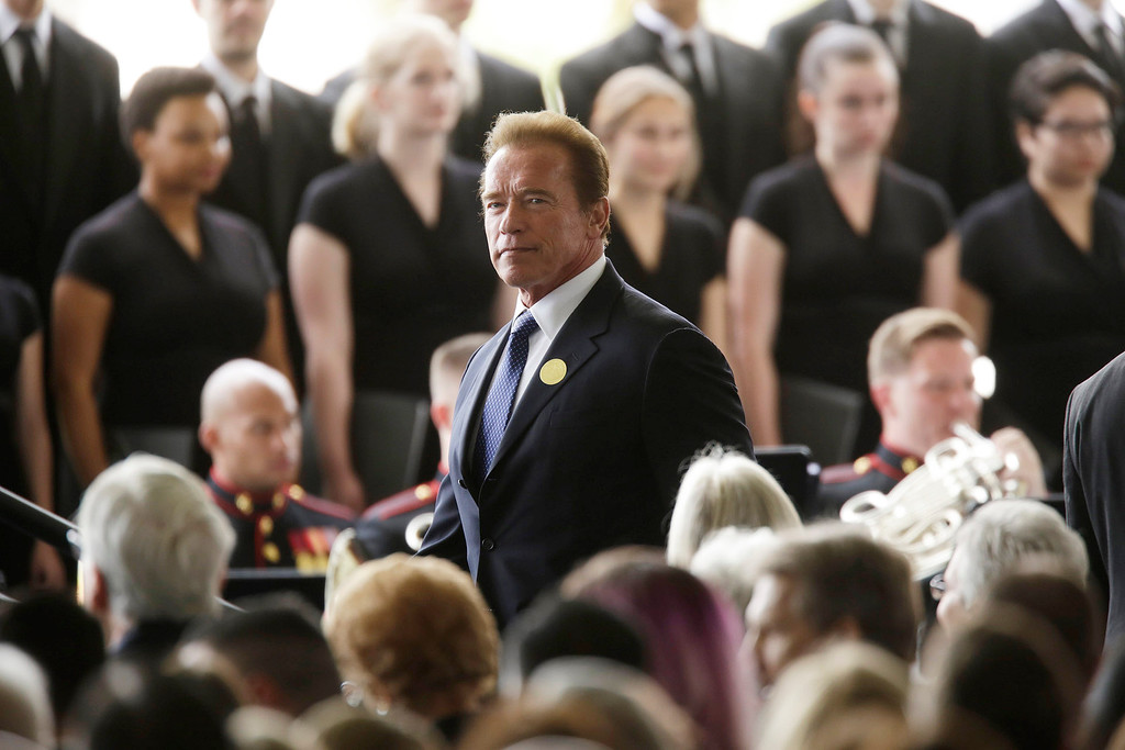 . Former Calif. Gov. Arnold Schwarzenegger arrives for funeral services for Nancy Reagan at the Ronald Reagan Presidential Library, Friday, March 11, 2016 in Simi Valley, Calif.  (Irfan Khan/Los Angeles Times via AP)