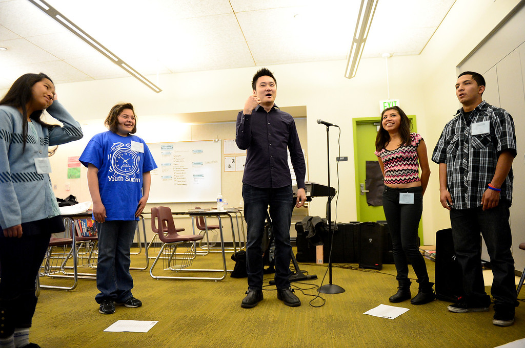 . Paul Kwo leads a Pop Rock Vocal workshop during the 4th Annual San Gabriel Youth Summit at Columbia School in El Monte Saturday, March 23, 2013. (SGVN/Staff Photo by Sarah Reingewirtz)