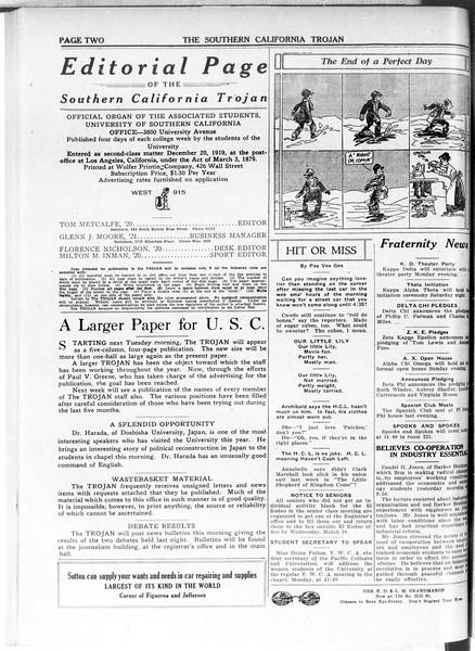 The Southern California Trojan, Vol. 11, No. 65, March 05, 1920