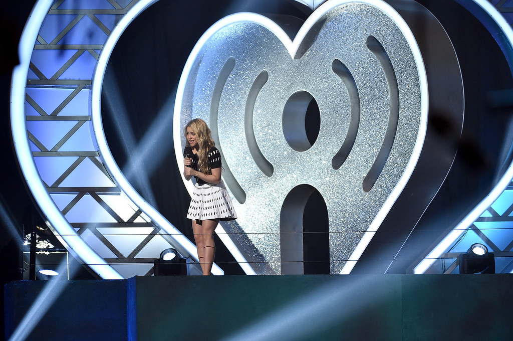 . LOS ANGELES, CA - MAY 01:  Singer Shakira speaks onstage during the 2014 iHeartRadio Music Awards held at The Shrine Auditorium on May 1, 2014 in Los Angeles, California. iHeartRadio Music Awards are being broadcast live on NBC.  (Photo by Kevin Winter/Getty Images for Clear Channel)