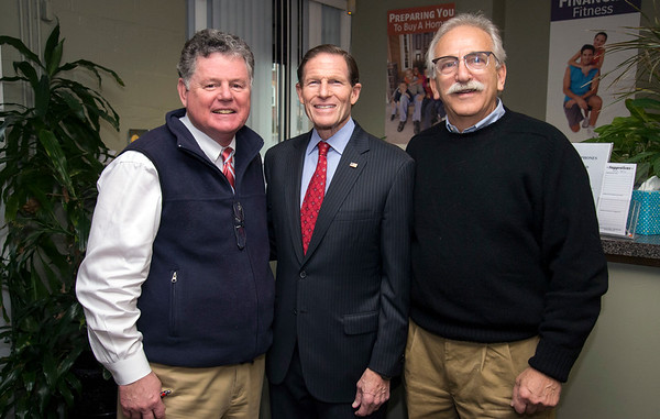 02/07/20 Wesley Bunnell | StaffrrSenator Richard Blumenthal visited Neighbor Works at 223 Arch St on Friday afternoon to announce federal grant money which has been allocated to the program. NHS Executive Director of New Britain John W. Kakulka, L, Senator Richard Blumenthal and Chairman and CEO of Ironwood Capital Marc A. Reich.