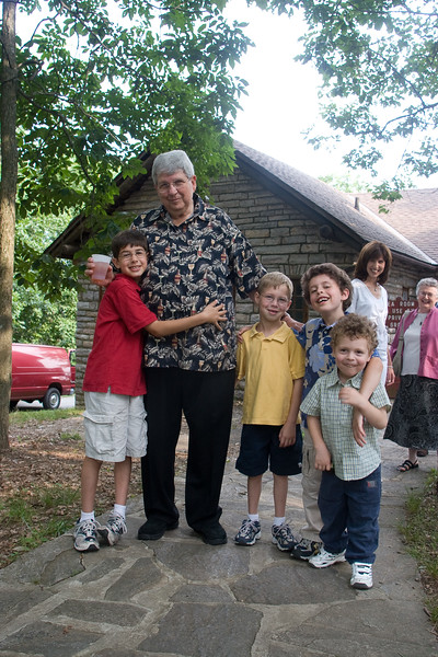 Four grandsons with Grandpa Gerry--Gerry Libman's 70th Birthday party