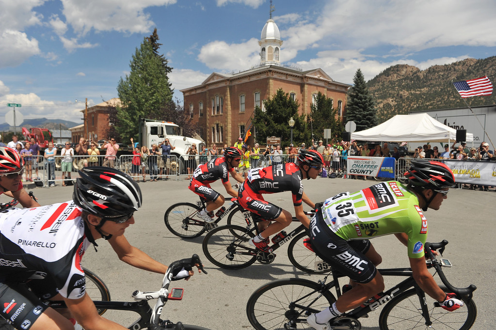 . Greg Van Avermaet of BMC Racing Team (#35) rides with a group as they pass by the Buena Vista Museum during the 126.4-mile second stage. (Photo By Hyoung Chang/The Denver Post)