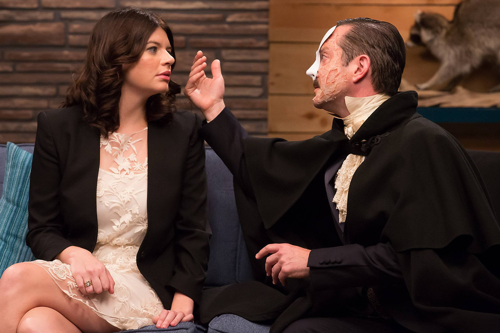 ". Casey Wilson and The Phantom (Thomas Lennon) in IFC\'s ""Comedy Bang! Bang!\""  (Photo by Chris Ragazzo/IFC)"