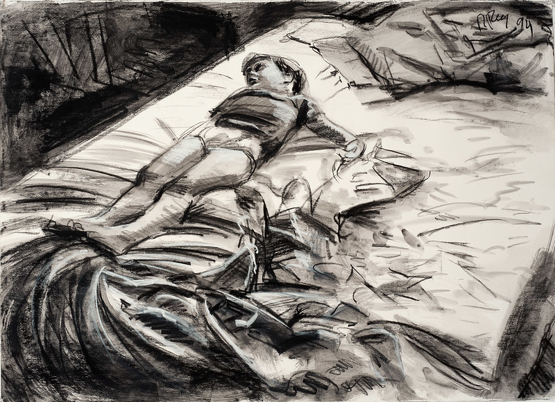 Sleeping child (study), charcoal and wash on paper, 22 x 30 in, 1994