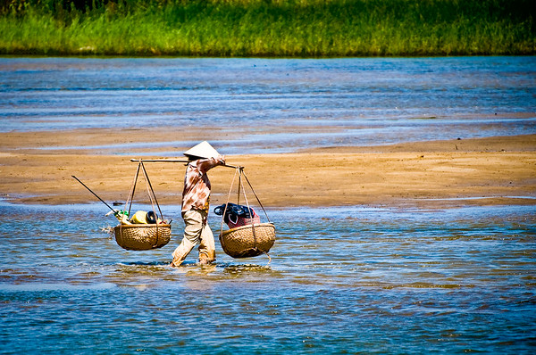 Going Home. Thu Bon River in Hoi An, Vietnam