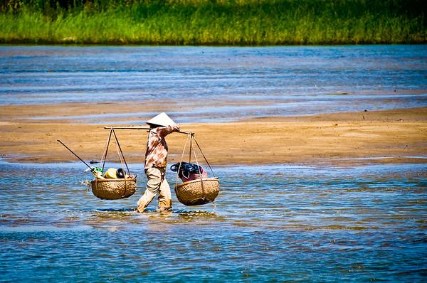 Going Home. Thu Bon River in Hoi An, Vietnam