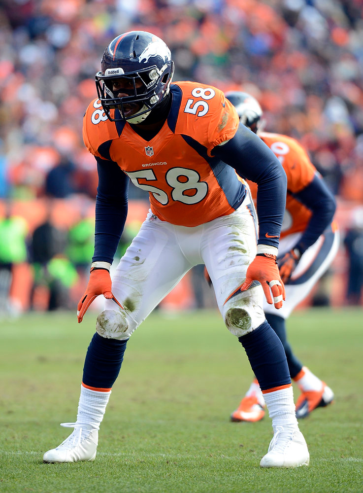 . Denver Broncos outside linebacker Von Miller (58) waits for a snap in the first quarter.  The Denver Broncos vs Baltimore Ravens AFC Divisional playoff game at Sports Authority Field Saturday January 12, 2013. (Photo by John Leyba,/The Denver Post)