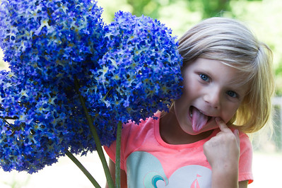 Melina with blue flowers