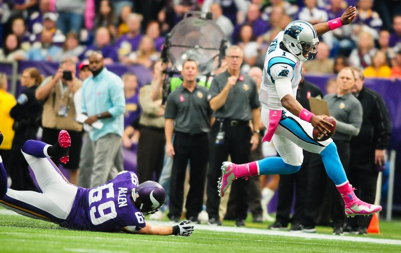 ". <p>1. (tie) VIKINGS DEFENSE <p>Had even less success chasing Cam Newton than the NCAA did. (unranked) <p><b><a href=\'http://www.twincities.com/sports/ci_24301793/panthers-35-vikings-10-carolina-toys-hapless-hosts\' target=""_blank\""> HUH?</a></b> <p>   (Pioneer Press: Ben Garvin)  <p>OTHERS RECEIVING VOTES <p> Jerry Kill, Rob Gronkowski, food stamp debit cards, Houston Texans fans, Oklahoma Sooners, Charlie Hunnam, Lane Kiffin, Kendrick Perkins, �Captain Phillips�, Les Miles, Rick Reilly, Atlanta Dream, Brandon Marshall�s shoes, Tampa Bay Buccaneers, Tom Emmer, chastity padlocks, Magic Johnson, Mike Ditka, Craig Robinson, Cinemax, Jonas Brothers, Katie Couric, Linder�s Garden Center, Ted Williams Condoms, Ariel Castro, Barack Obama, Americans, Daniel Snyder, Kanye West, Pittsburgh Pirates, John Boehner, Kris & Bruce Jenner, Joe Girardi, Holidazzle Parade, Aldon Smith, Jesse Ventura, Sheryl Crow & Lance Armstrong, roller coasters. <p> <br><p> Kevin Cusick talks fantasy football, and whatever else comes up, with Bob Sansevere and �The Superstar� Mike Morris on Thursdays on Sports Radio 105 The Ticket. Follow him at <a href=\'http://twitter.com/theloopnow\'>twitter.com/theloopnow</a>."