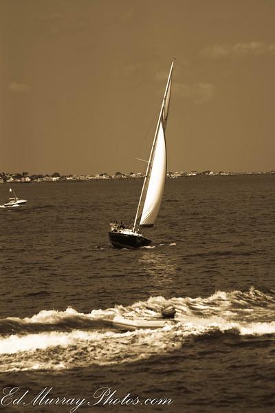 Sail Boston: A sail boat in Boston harbor